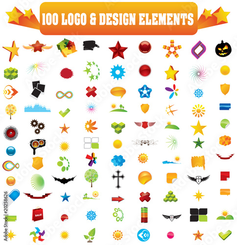 Collection of 100 design elements for your business artwork.