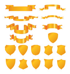Golden shields and ribbons. Vector elements for design.