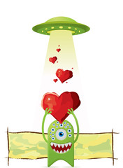 Alien gives a love to UFO