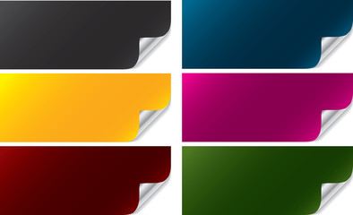 Collection of colorful banners with corner curl