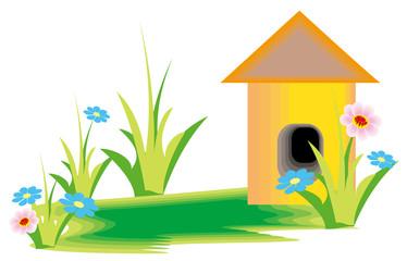 flower and cartoon house