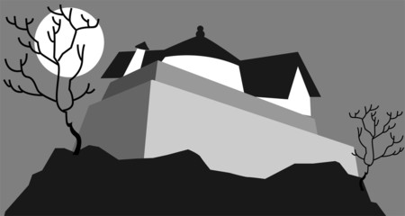 Illustration of fort in a moonlight