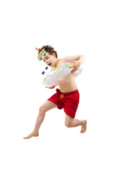 Boy ready to swim and dive isolated on white