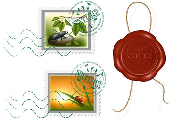 Postage stamp and wax seal. Protection of nature