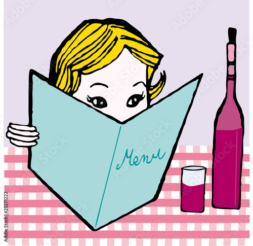 girl with menu card vector illustration cartoon retro