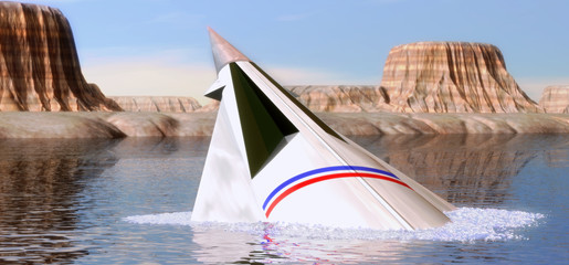 spaceship and lake