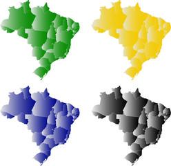Brasil em verde, amarelo, azul e preto