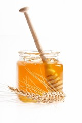 Honey on white background