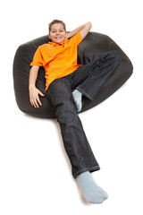 teenager on pouffe