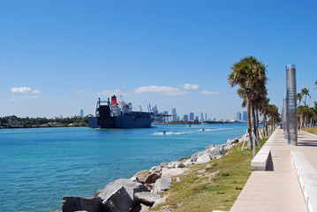 Container Ship Entering the Port of Miami