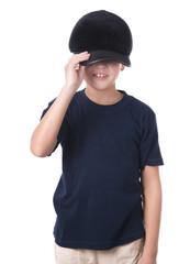 Young latino boy wearing baseball cap