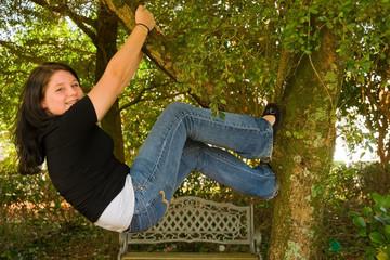 teen in a tree