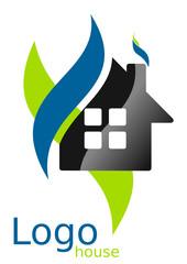 Logo maison courbes carrés bleu vert gris