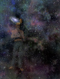 Man with galaxy mind poster