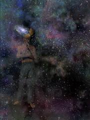 Man with galaxy mind