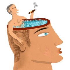 man smoking in a  jacuzzi head