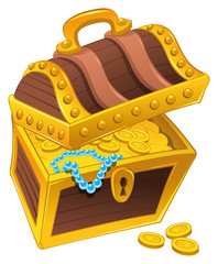 Golden coffer with treasure. Vector and cartoon isolated object.