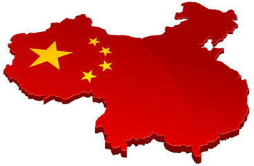 Carte de Chine 3D rouge (détouré)