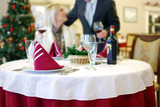 restaurant scene with selective focus and blur girl poster