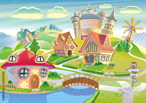 Papiers peints Chateau Fairyland with castle, windmill and little cute village