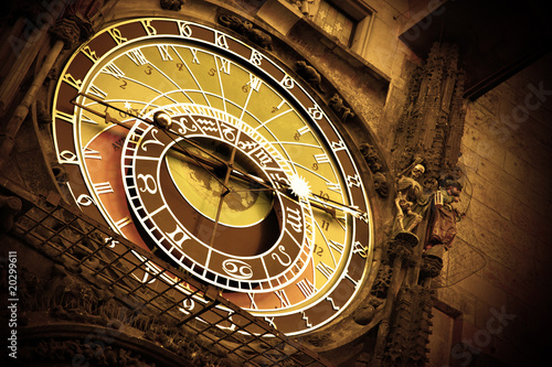 Old astronomical clock on Old Town Hall, Prague|20299611