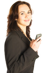 Smiling woman hold mobile phone