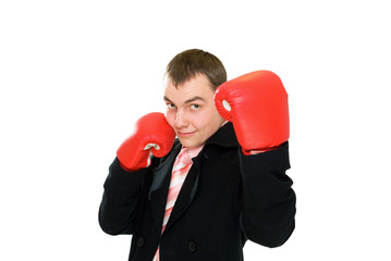 smile businessman in boxing glove