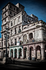 Building and street lamp , Havana, Cuba