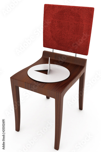 wooden chair with a button