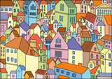 Abstract colour drawing of city background