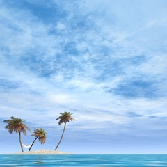 High resolution conceptual island with palm trees