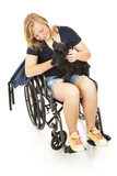 Disabled Girl Comforts Dog poster