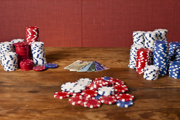 poker chips and credit cards