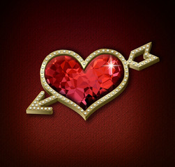 corazón flechado rojo