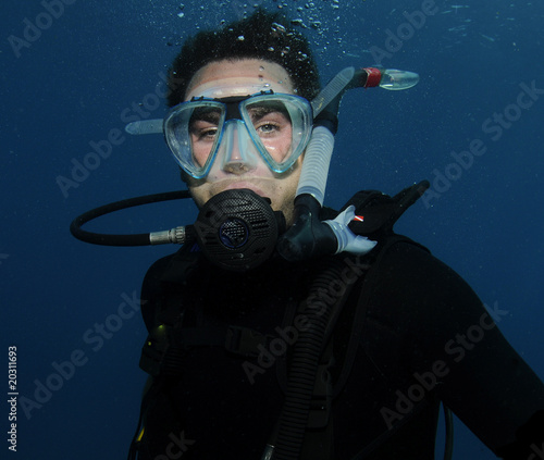 young male scuba diver portrait