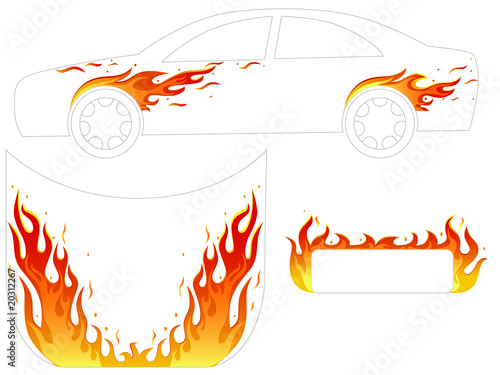fire illustration for car tattoo - 20312267