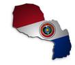 Paraguay Karte 3D Flagge