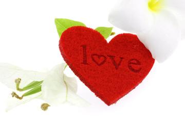 love coeur rouge fleurs bougainvillée frangipanier fond blanc