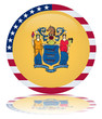 New Jersey Flag Round Button (USA NJ State Vector Reflection)