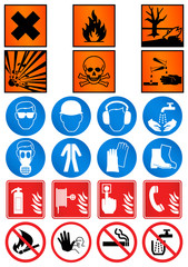 Vector illustration set of different laboratory associated signs