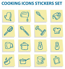 Cooking icons stickers set, kitchen elements 1