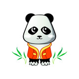 Cute little panda in japanese drawing style isolated