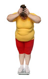 women with overweight on scales poster