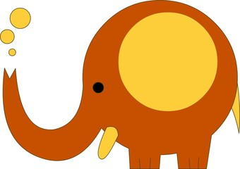 Coloured elefant, on white background