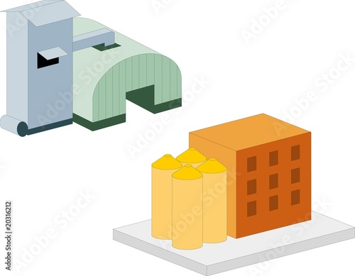 Farmland and related buildings, on white background