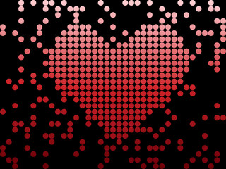 Digital Love Valentine's day heart with dots.