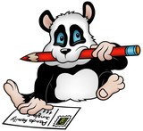 Panda and Postcard - colored cartoon illustration