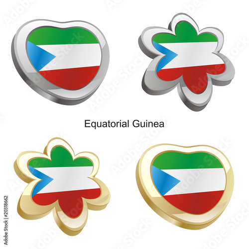 illustration of equatorial guinea flag in heart and flower