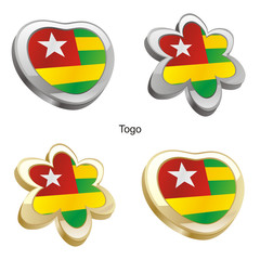 vector illustration of togo flag in heart and flower shape