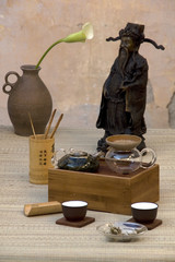 Chinese tea set with statue